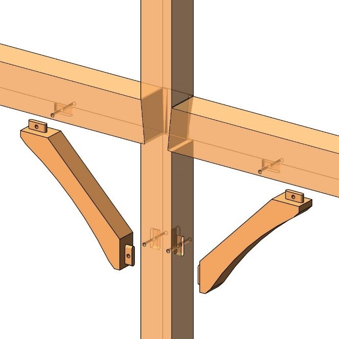 mortise-and-tenon joining heavy timber column and beams modeled in Autodesk Revit using AGACAD Wood Framing OAK BIM software