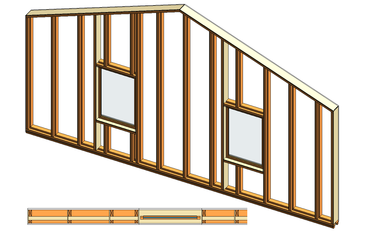 Wood Frame with Composite Studs and Plates