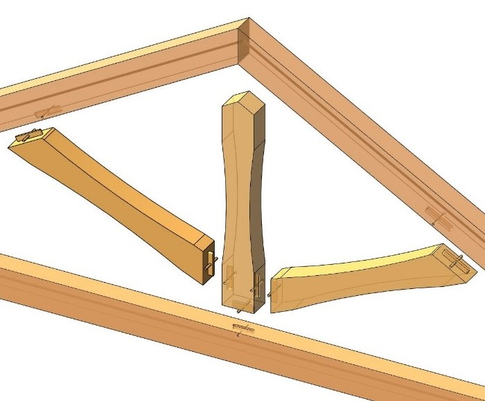 heavy timber truss mortise and tenon connections modeled in Autodesk Revit using AGACAD Wood Framing OAK BIM software