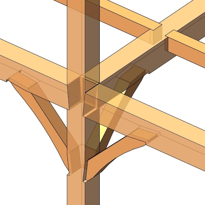 shoulder cuts joining heavy timber column and beams modeled in Autodesk Revit using AGACAD Wood Framing OAK BIM software
