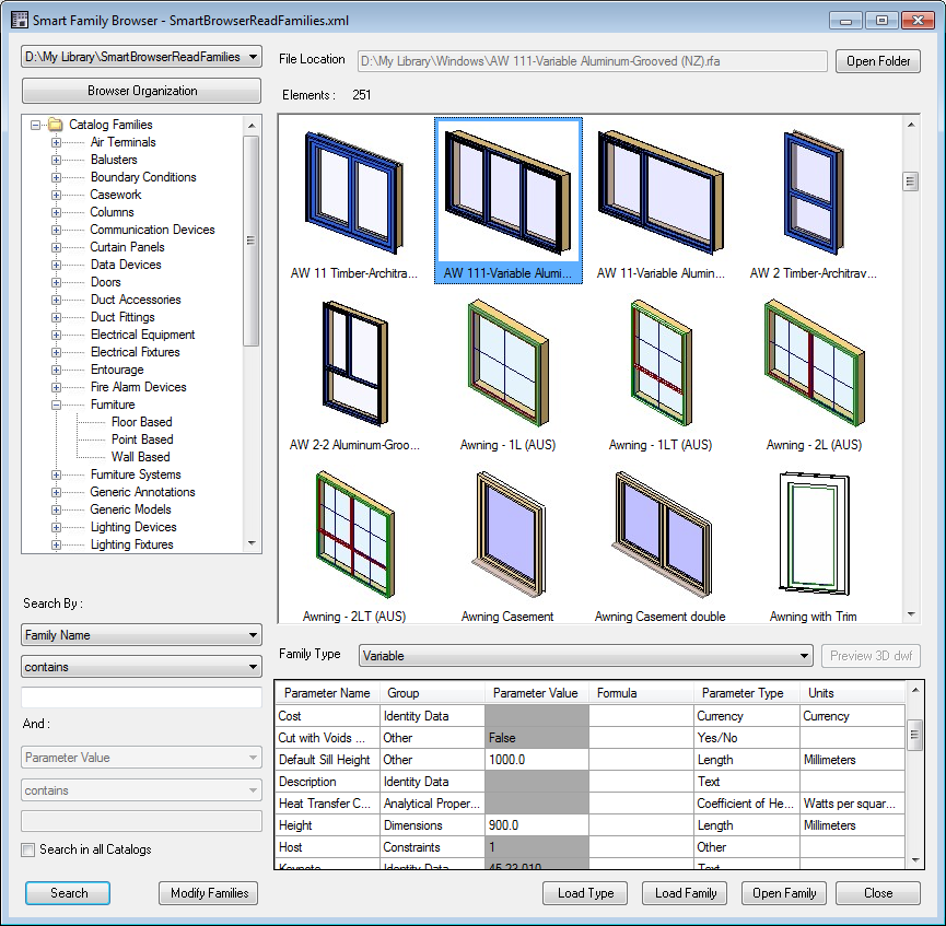 Library of free BIM objects families and system files