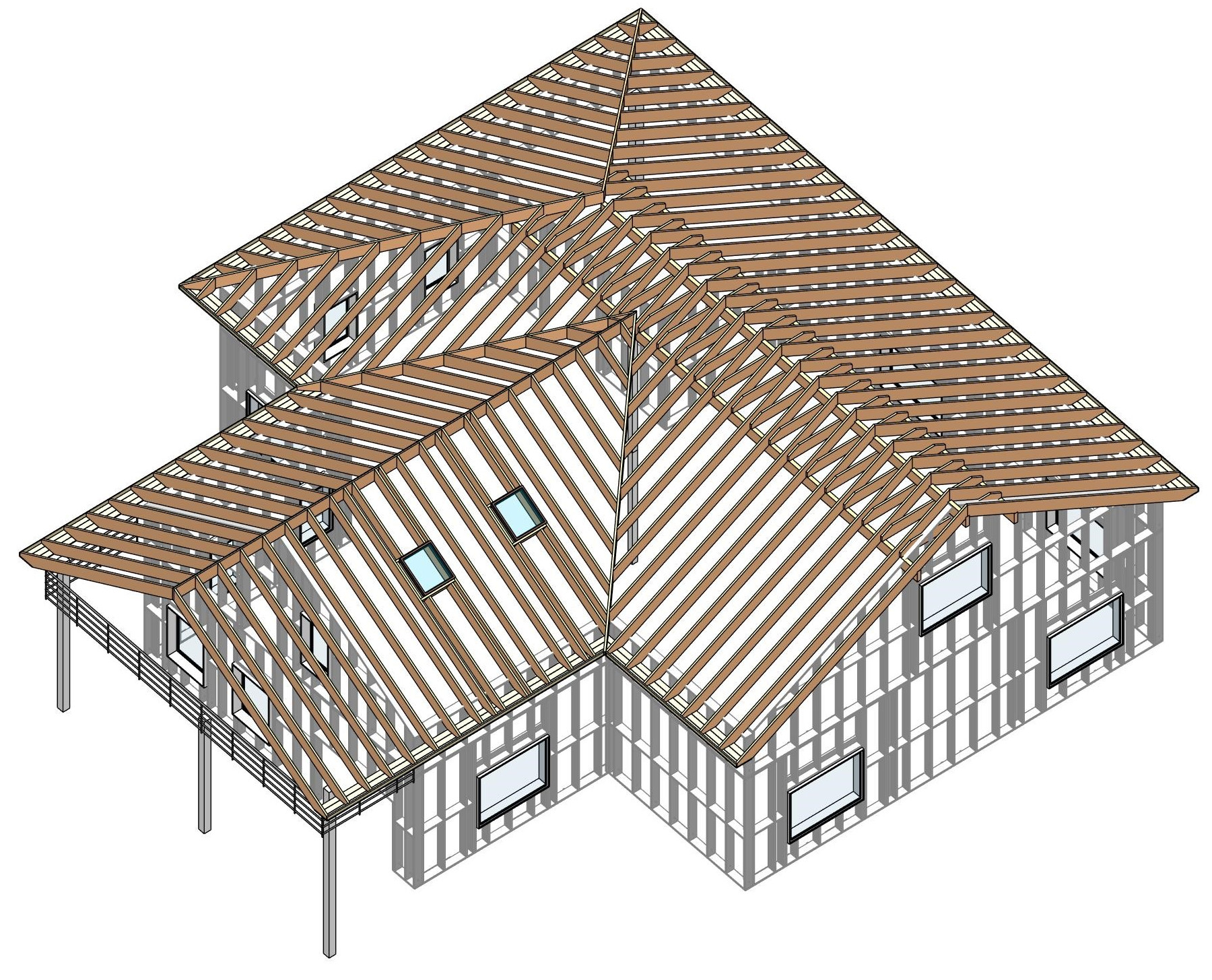 rafter roof framed in Autidesk Revit using AGACAD Roof Framing BIM tools