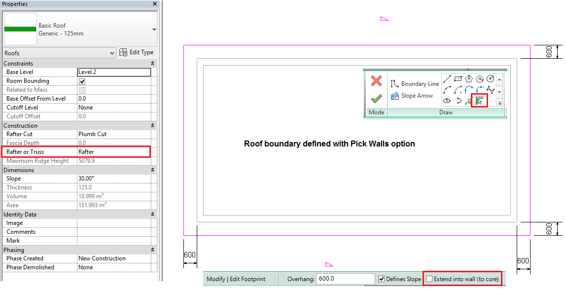 Roof Boundary Definition and Construction Settings in Revit