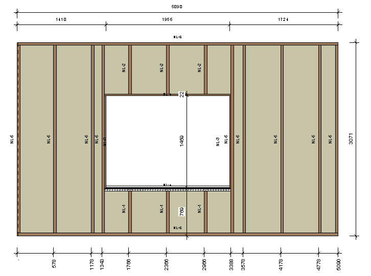 Framing A Wall With Automatic Sorting And Dimensioning Once You Frame Your Wall Dimensions Tags Are Generated Automatically Press Function To Create Workshop Drawings Framing Timber Walls In Revit Model Wood Wall Agacad